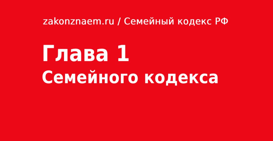Глава 1 Семейного Кодекса РФ