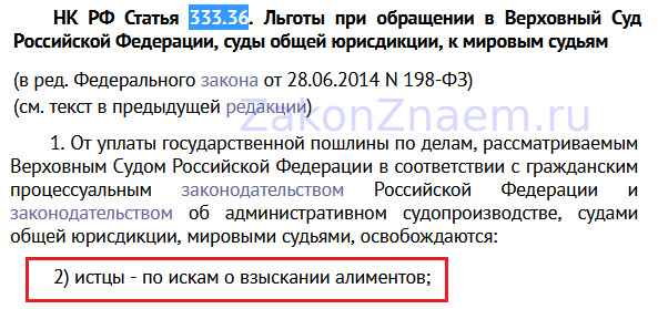 пп.2 п.1 статьи 333.36 Налогового кодекса РФ